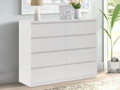 TONGASS Wooden Low Boy 8 Drawers - WHITE
