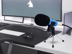 USB Condenser Microphone with Stand - Blue